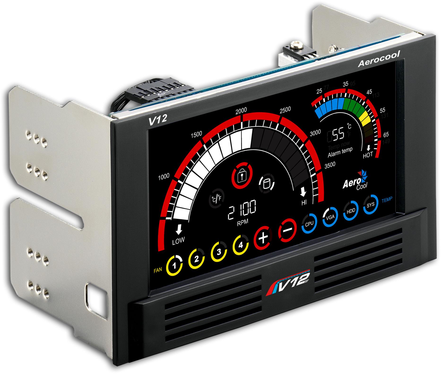 AeroCool V12XT 4 Channel LCD Touch Panel Fan Controller #CB0001