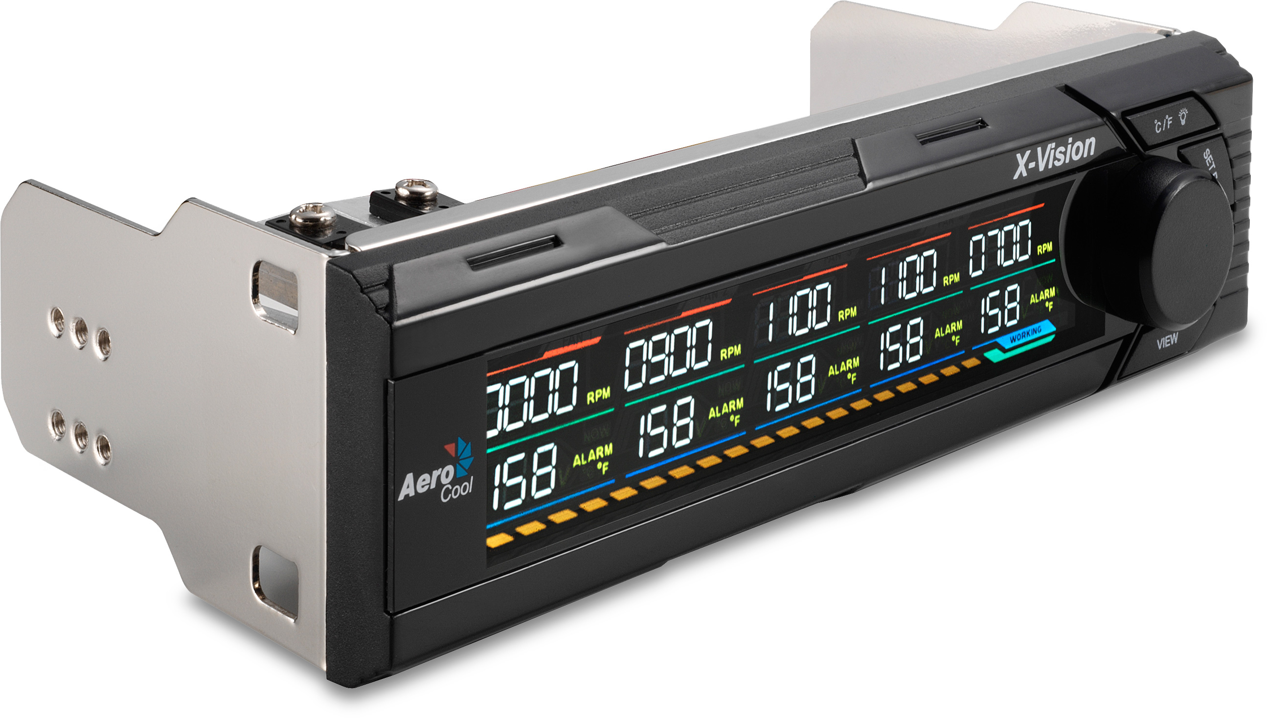 features controls and monitors five fans with temperatures overheating  #A96C22