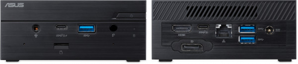 Front and rear view of the PN50, please note the configurable port features a single DisplayPort by default, which can be changed if required