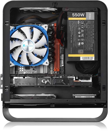 Side view of the UMX1-Plus showing the PSU mounted at the font of the case and optional graphics card