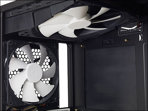 Image showing top 180mm and side 140mm cooling fans