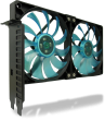 PCI Slot Fan Holder with two slim 120mm UV Blue Fans