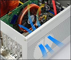 Cooler air is brought into the case to aid cooling the graphics card