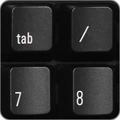 Tab key on the numeric keypad