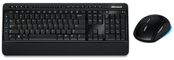 The package comprises Microsoft's Wireless Keyboard 3000 (US version pictured) and the Wireless Mouse 5000