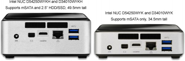 Image highlighting the differences between the available NUCs