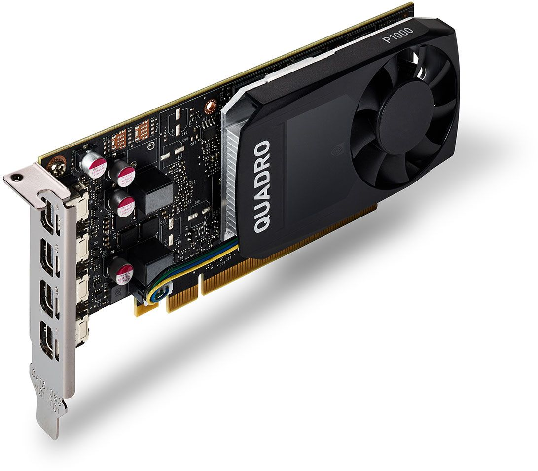 NVIDIA Quadro P1000 Graphics Card, 4x mDP1.4 plus 4 DVI Adapters
