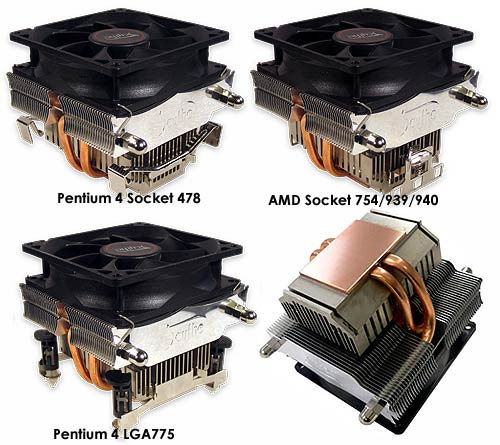 This image shows the three different socket types the Samurai Z is compatible with. Along with a look at the base of the cooler.