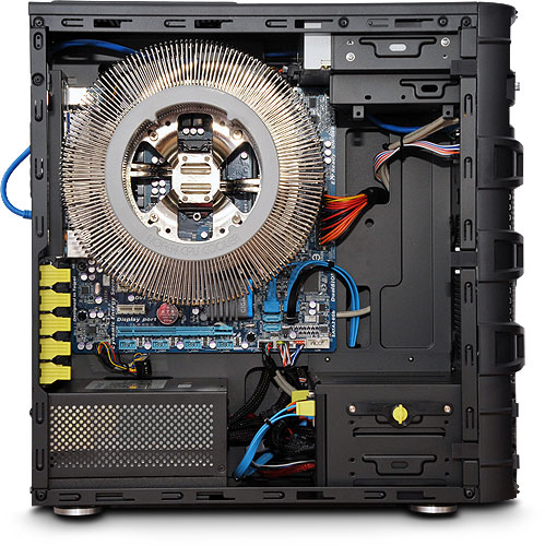Nofan IcePipe A43-H67 Fully-built Silent PC internal view (click to enlarge)