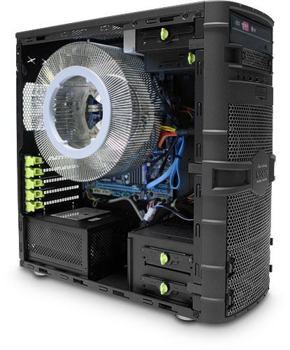 Nofan IcePipe A43-H67 Fully-built Silent PC (side removed to show internals)