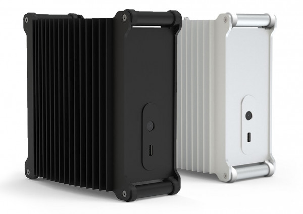 The DB1a Fanless is available in a sandblasted black or silver finish