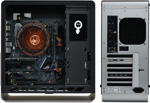 Side (panel removed) and rear view of the A890a with optional GT1030 graphics and USB cards installed