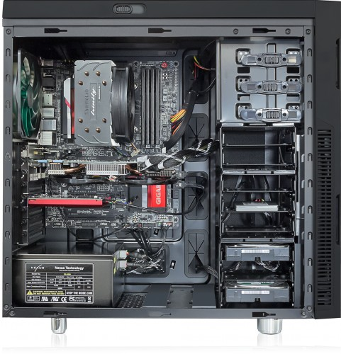 Internal view shown with Trinity CPU cooler, optional graphics / sound / Wi-Fi cards and additional hard drives in a Nanoxia Deep Silence 1 case.