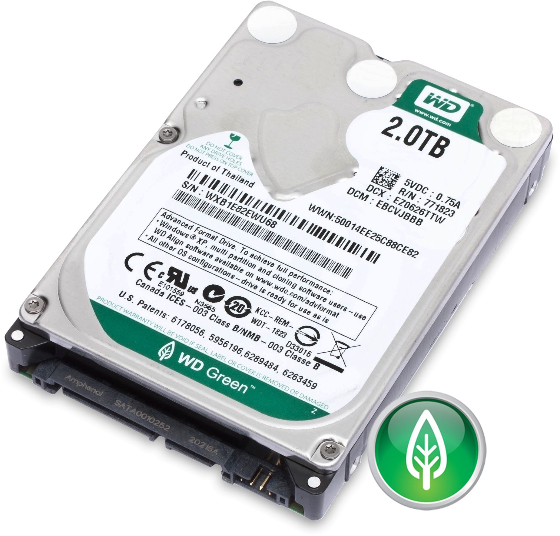 2TB 2 5in WD20NPVX Green SATA 6Gbs HDD OEM